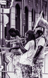 Gata Jazz Performers för bourbon New Orleans för fransk fjärdedel arkivbild