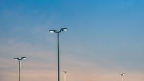 Gata ljusa Pole på solnedgången Royaltyfri Foto
