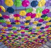 Gata med kulöra paraplyer Agueda Royaltyfri Bild