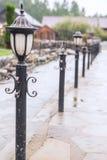 Gata med lampor Fotografering för Bildbyråer