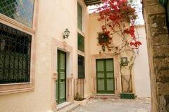 Gata med trädörrar och buske med blommor i Mahdia arkivbilder