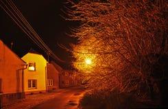 Gata med träd, elkraftblytak och ljus i vinter Arkivbild