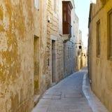 Gata med traditionella maltese byggnader i Mdina Arkivfoton