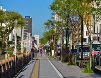 Gata på centret i Akita, Japan Royaltyfria Foton