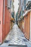 Gata på Korfu, Grekland Royaltyfri Foto