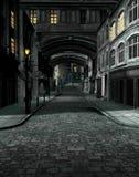 Gata på natten med 19th århundradestadsbyggnader Royaltyfri Foto