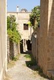 Gata på Rhodes Royaltyfri Fotografi
