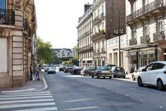 Gata Rue de Strasbourg i Nantes, Frankrike Arkivbilder