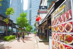 Gata Singapore för fartygkajrestaurang Royaltyfria Bilder