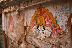 Gata som målar n Jaisalmer, Rajasthan, Indien royaltyfri bild