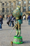 Gataaktör på fördämningfyrkant i Amsterdam, Nederländerna Fotografering för Bildbyråer