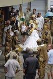 Gataaktörer under karnevalfestivalen Rio de Janeiro, arkivfoton