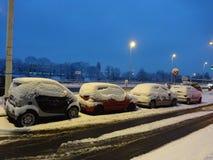 Gatabildspråk - bilar som täckas i snö längs floden Seine Royaltyfria Foton