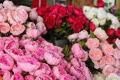 Gatablomsterhandlare i södra Frankrike, färgrika nya blommor i den huvudsakliga gatan av Cannes royaltyfria foton