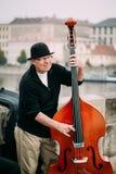 GataBusker som utför jazzsånger på Charles Bridge i Pra Fotografering för Bildbyråer