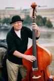 GataBusker som utför jazzsånger på Charles Bridge i Pra Royaltyfria Bilder