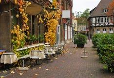 Gatacafe i hösten i en européstad Fotografering för Bildbyråer