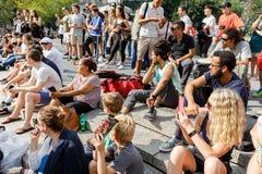 Gatadansare på Union Square i Manhattan Fotografering för Bildbyråer