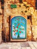 Gatadetalj på Akko, Israel royaltyfri bild