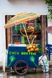 Gataförsäljning av kokosnötvatten i Cartagena de Indias arkivbild