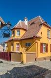 Gatafoto i Sighisoara, Rumänien Arkivbilder