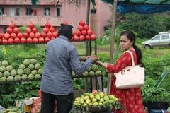 Gatafrukt och traditionellt återförsäljnings- för grönsaker shoppar i Indien fotografering för bildbyråer