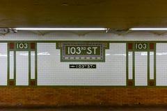 103. gatagångtunnelstation - NYC Royaltyfri Bild