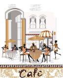 Gatakafé med folk som dricker kaffe Arkivbilder