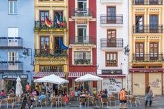 Gatakaféer i Valencia Arkivbilder