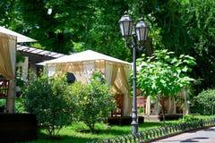 Gatakaféinre i grön stad parkerar, utsmyckat med blommor, sommarsäsongen, ljus solig dag royaltyfri bild