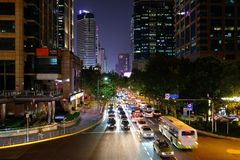 Gatakanjon i Shanghai, Kina arkivbild