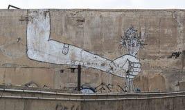 Gatakonst (grafitti) i den gamla Jaffaen avivisrael telefon Royaltyfria Bilder