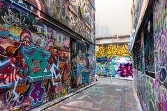 Gatakonst - hosieren Lane Melbourne - Australien Arkivbild