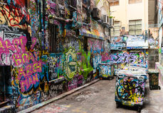 Gatakonst - hosieren Lane Melbourne - Australien Arkivfoton
