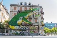 Gatakonst i Lissabon, Portugal Arkivfoto