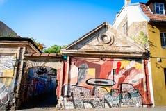 Gatakonst i Vilnius, Litauen Arkivbilder