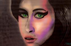 Gatakonstgrafitti som baseras på sångaren stock illustrationer