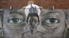 GatakonstMontreal kvinna Arkivbilder