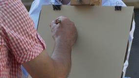Gatakonstnär Drawing Portrait arkivfilmer