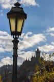 Gatalampa med slottbakgrund i den Cochem Tyskland Royaltyfri Foto