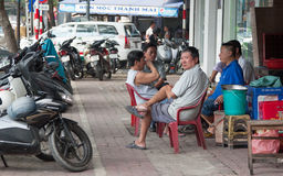 Gataliv i Saigon (Ho Chi Minh), Vietnam Arkivfoto