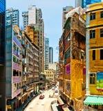 Gatalivstid i glåmiga Chai, Hong Kong Royaltyfria Bilder