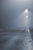 Gataljus, den dimmiga dimmiga natten, lampstolpelyktor, öde väg i mistdimma, blöter asfaltgrov asfaltbeläggning, att att närma si arkivbilder