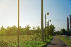 Gataljus längs trottoaren mot blå himmel arkivbilder