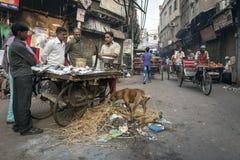 Gatamarknad i Delhi, Indien Arkivfoton