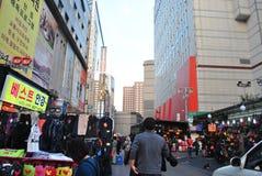 Gatamarknadsplats i Seoul Arkivfoton