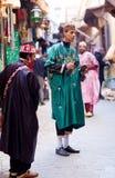 Gatamusiker i Fez, Marocko Arkivfoto