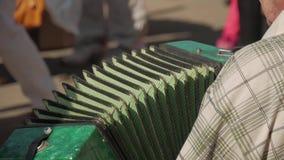 Gatamusiker som spelar dragspelet Hand som spelar dragspelcloseupen Dragspels- spelare stock video