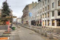 Gatan är i stadsMoskva Royaltyfri Foto