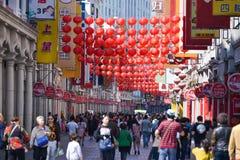 Gatan för shopping för den Shangxia jiuen är den fot- strögen i Guangzhou Royaltyfria Bilder